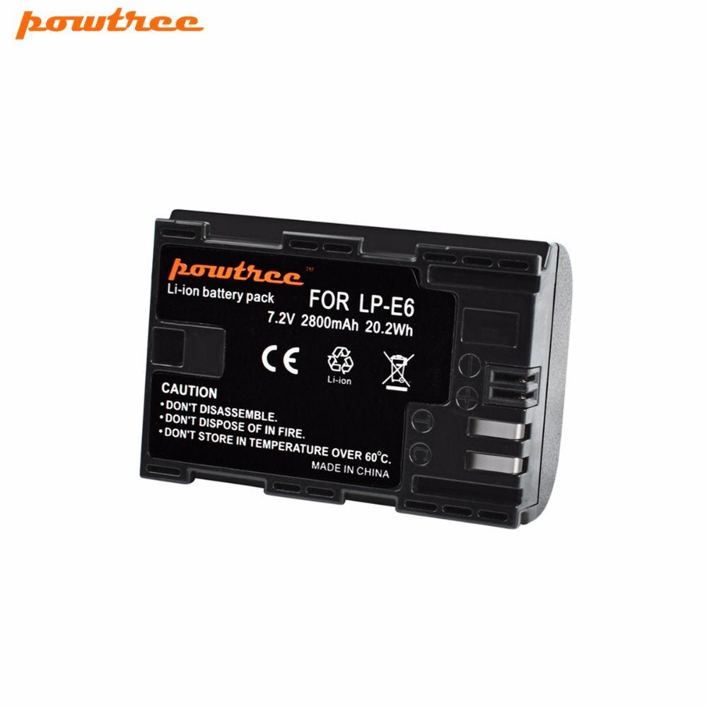 Powtree Pour Canon 1x7.2 V 2800 mAh LP-E6 Caméra Rechargeable Batterie Remplacement LP E6 LPE6 5D 6D 7D 60D 60Da 70D 80D DSLR
