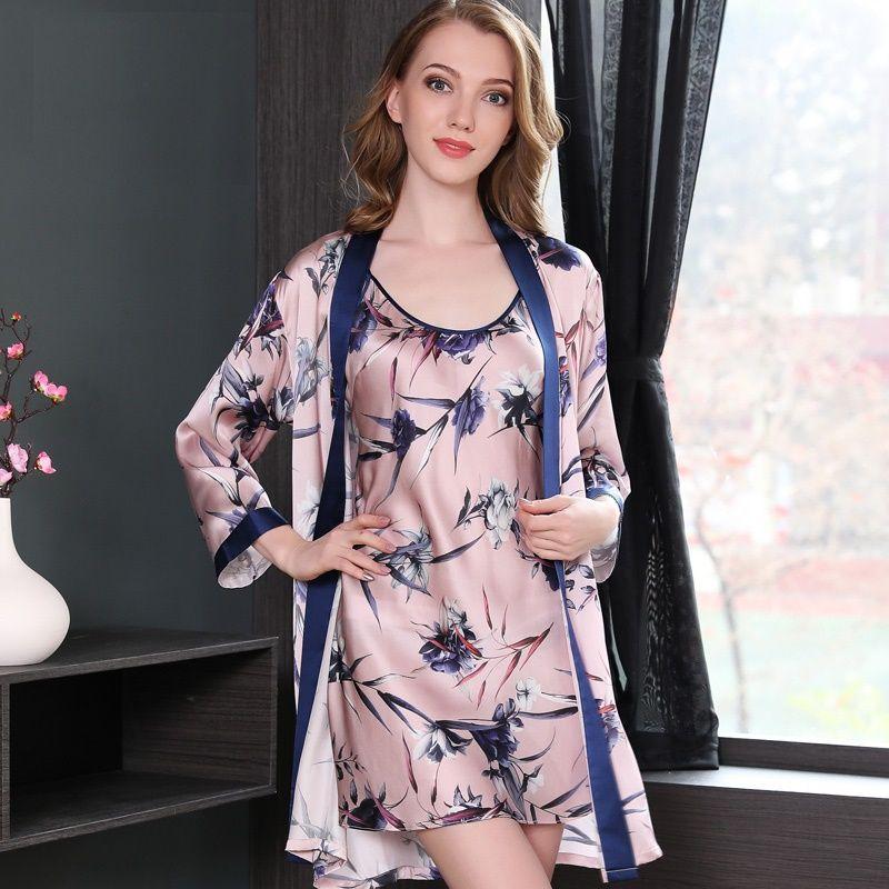 2018 Sleepwear Woman 100% silk stain two piece night gown pink robe set sexy ladies silk nightwear gown and robe set homewear