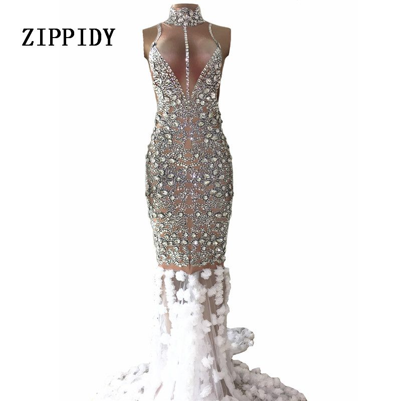 Luxurious Rhinestones Dress Glisten Stones Evening Long Train Flowers Dress Women's Prom Birthday Celebrate Silver Dresses
