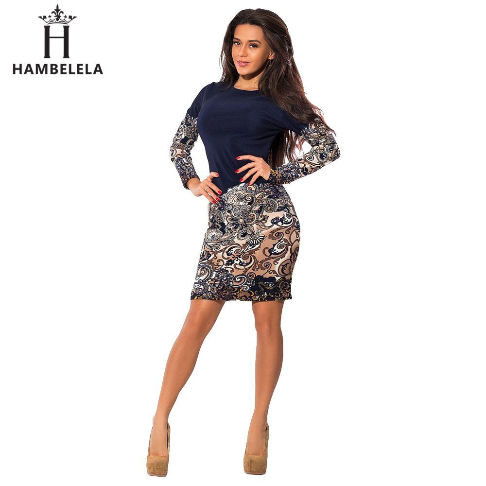 HAMBELELA offre spéciale 2017 printemps femmes robe à manches longues Patchwork o-cou robe moulante élégante Midi mode bureau robe