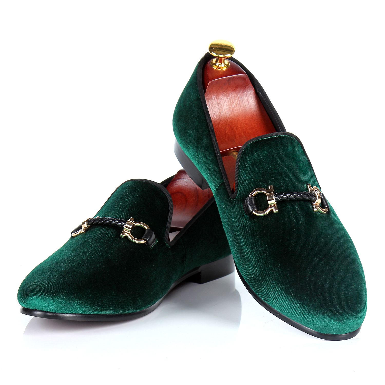 mens dress shoes green velvet loafers shoes woven buckle strap wedding shoes custom free drop shipping size 7-14