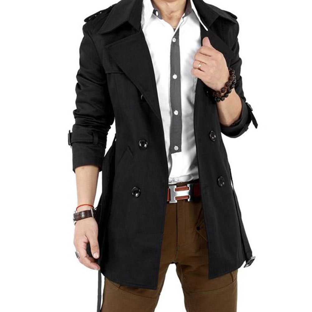 2016 Autumn Trench Coat Men Double Breasted Trench Coat Men Outerwear Casual Coat Men's Jacket Windbreaker Mens Trench Coat