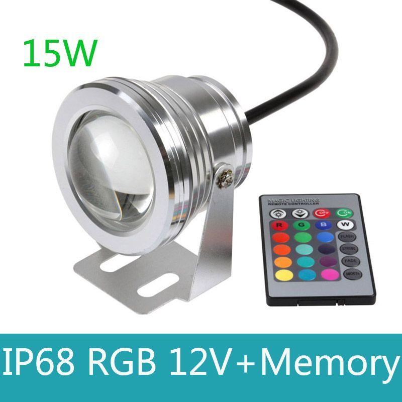 15 W 12 v sous-marin RGB lumière LED étanche ip68 fontaine lampe de piscine 16 changement de couleur avec télécommande IR et mémoire