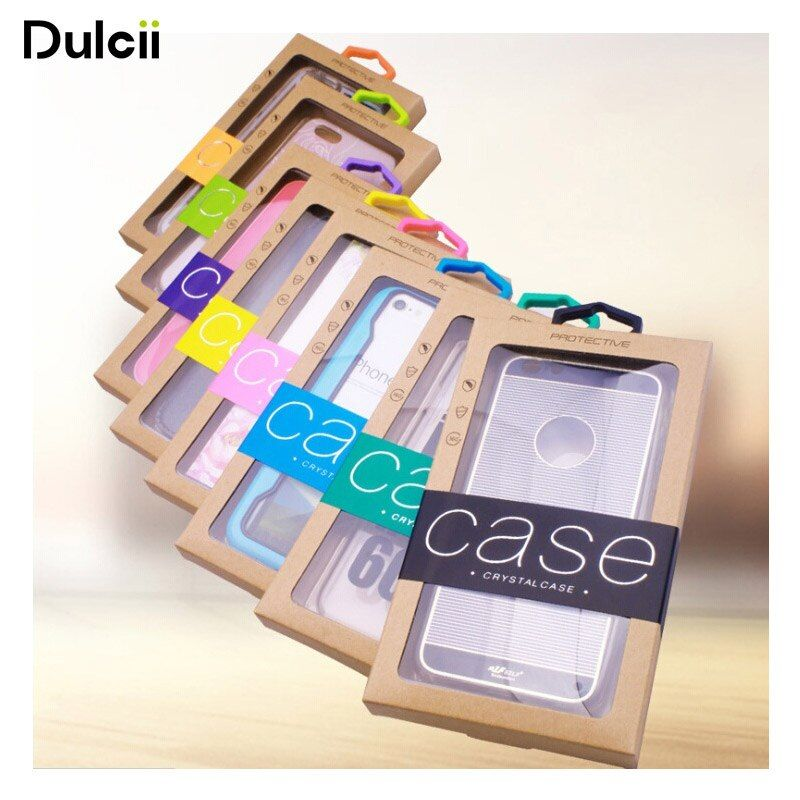 50 Teile/satz Kraftpapier Box Paket für Abdeckung für iPhone Samsung Fällen Einzelhandel Pakete für Telefon-beutel-abdeckung Fall, größe: 140x75mm