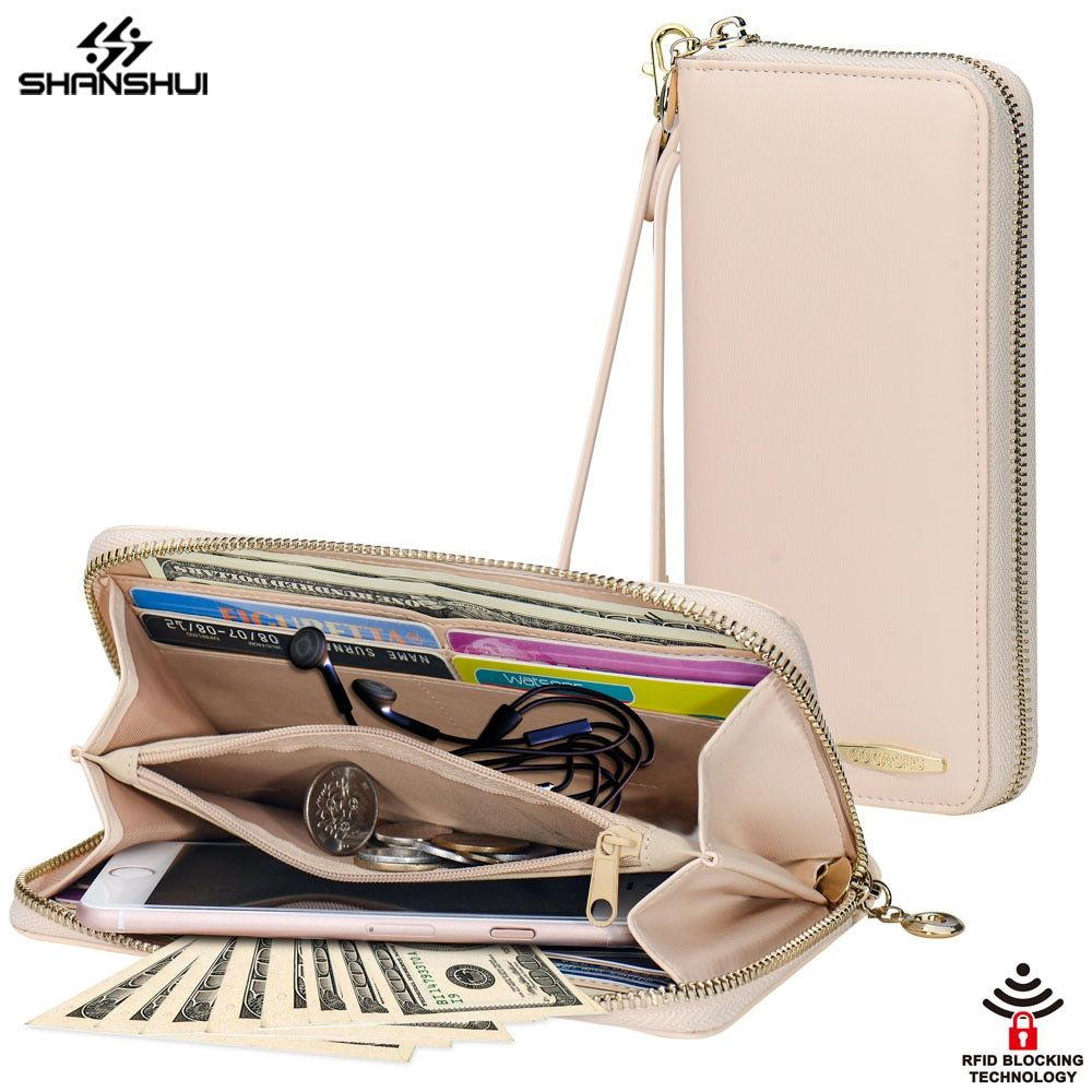 Women Wallet Phone Bag Strap RFID Large Capacity 8 Card Slot Leather Purse Case for iPhone X 6 7 8 plus Redmi 4x 4a note 4 S8 S7