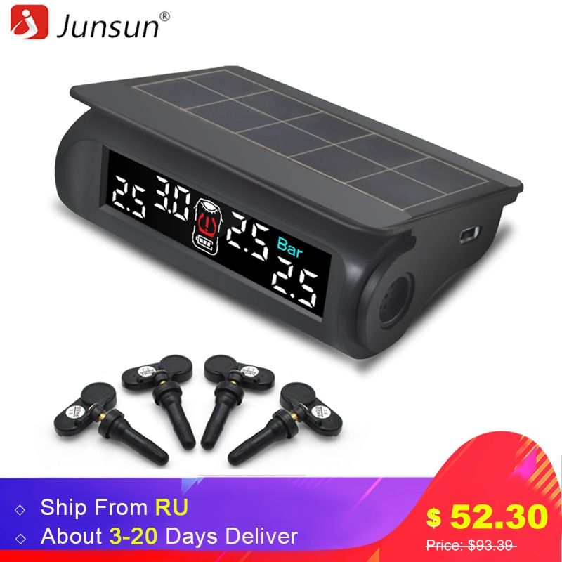 Junsun Car TPMS Tire Pressure Monitoring System Solar Charging VA HD Digital LCD Display Auto Alarm System Wireless With Sensor