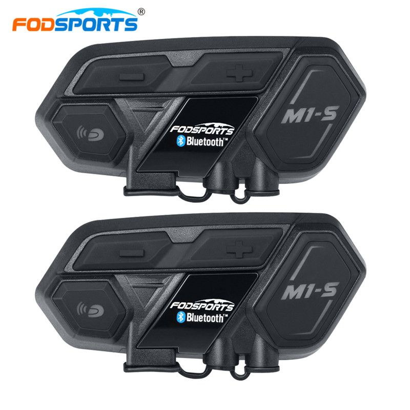 Fodsports 2pcs M1-S Motorcycle Helmet Headset Intercom 8 Riders Bluetooth Waterproof Group Handsfree Mortorbike Voice Reminder
