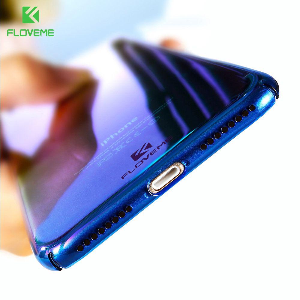 FLOVEME Pour iPhone X 6 6 S Plus Cas 5 SE Gradient Bleu-Ray Lumière cas Pour Apple iPhone 7 8 Plus X 5 S SE Clair Accessoires couverture