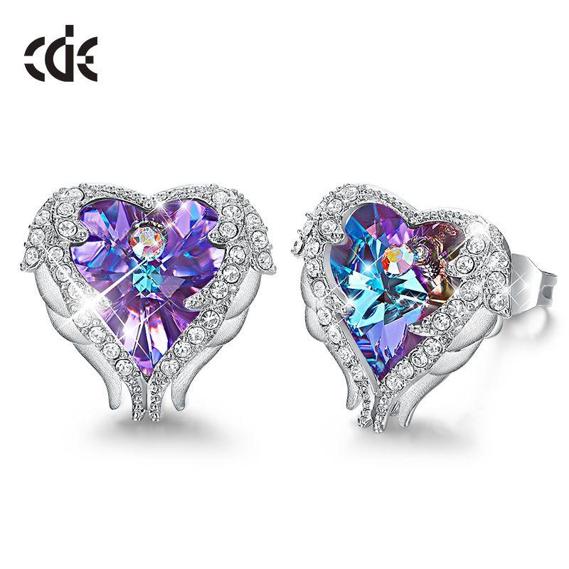CDE boucles d'oreilles ornées de cristaux femmes boucles d'oreilles ange aile coeur boucles d'oreilles mode oreille bijoux cadeaux