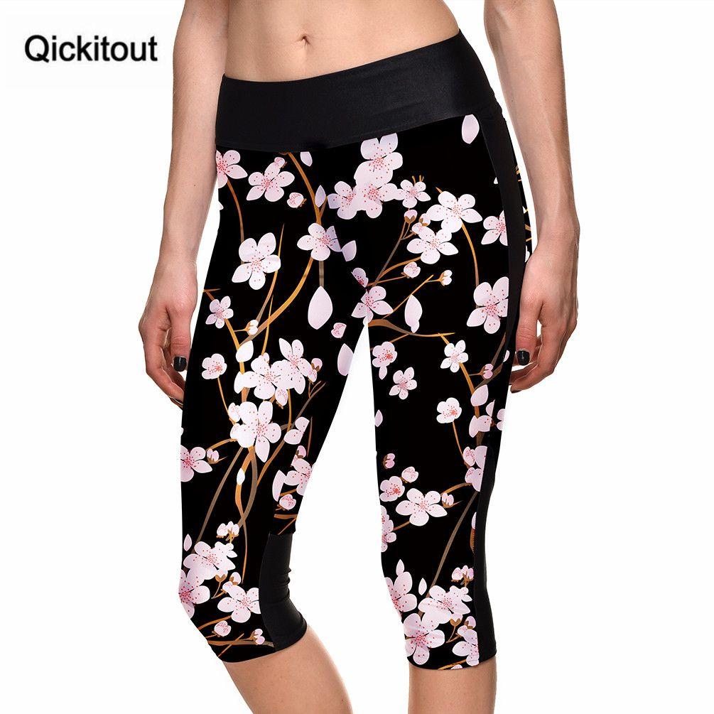 Sexy Hot women's 7 point pants Fashion women's leggings Winter bloom digital print women high waist Side pocket phone pants