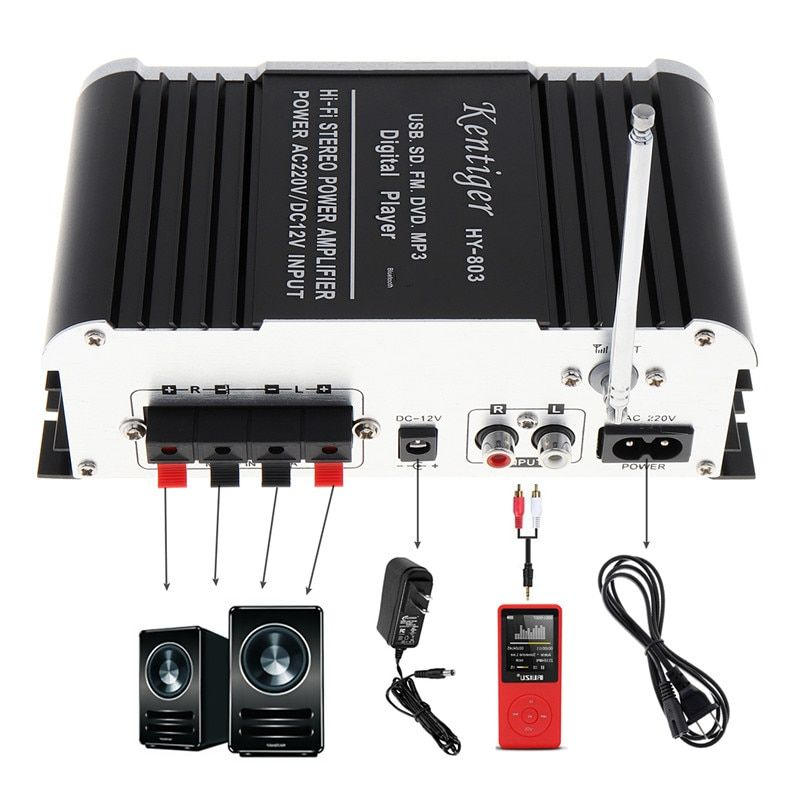 HY-803  DC12V 2CH HI-FI Bluetooth Car Audio Power Amplifier FM Radio Player Support SD/ USB / DVD / MP3 Input for Car Motorcycle
