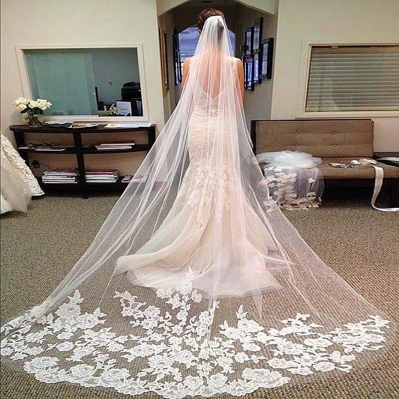 Hot Sales 3M Long Wedding Veils Cathedral Bridal Accessories Lace Edge Bridal Veil with Comb veu de noiva longo