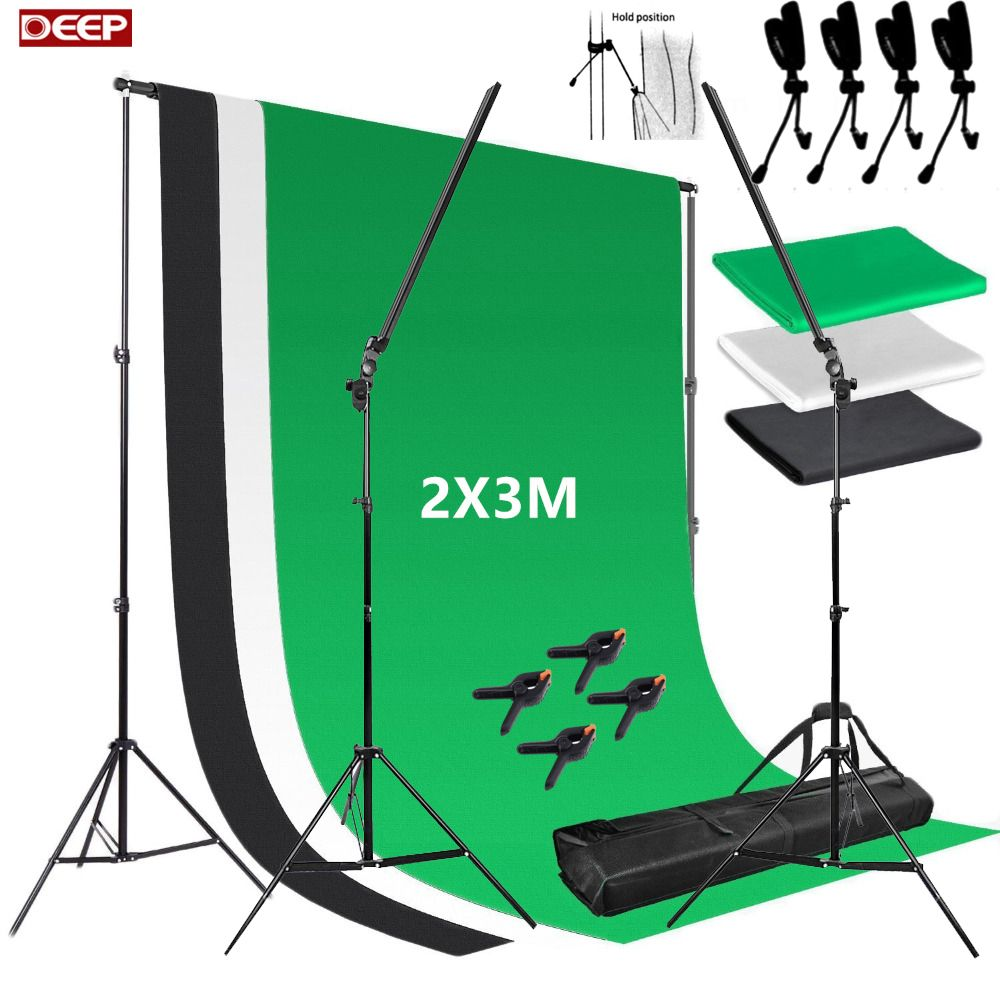 Photo Studio Professional Led Strips Photography Lighting Dimmer Switch 2 Light Stands 1Kit Background Stand Kit with Clamps