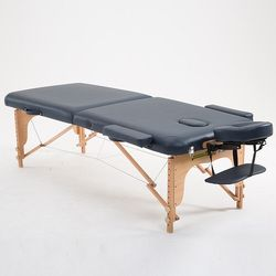70cm Wide 2 Fold Wood Massage Table Bed W/Carry Case Salon Furniture Folding Portable Thai Body Spa Massage Table Tattoo Bed