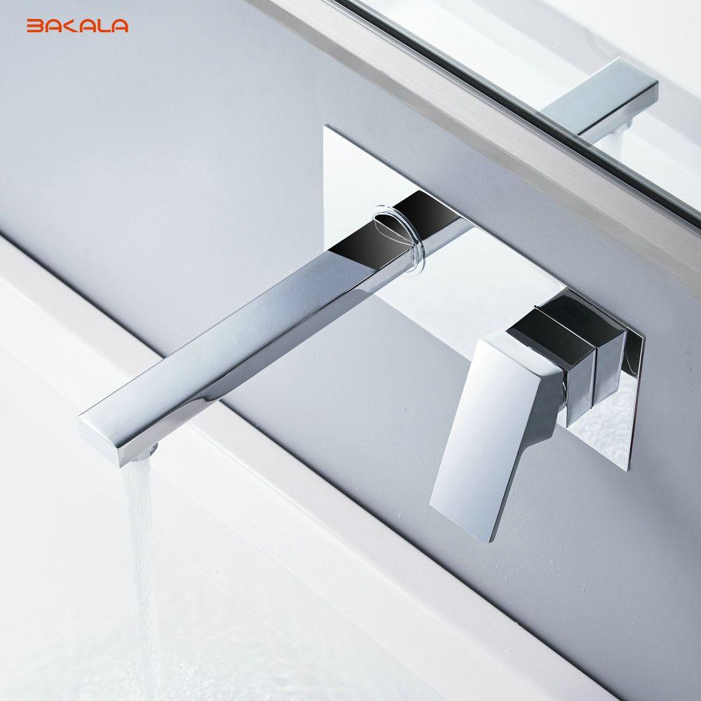 BAKALA livraison gratuite salle de bains bassin évier robinet mural carré Chrome laiton mélangeur avec boîte intégrée LT-320R