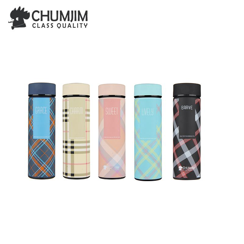 Classic color grid insulation cup vacuum flask Line grid thermos Stainless steel water bottles kettle insulation coffee cup new