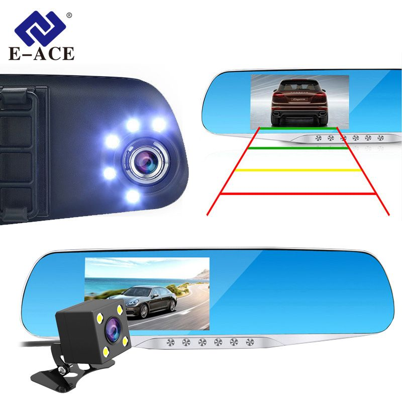 E-ACE Car Dvr Dash Cam Rearview Mirror FHD 1080P Video Recorder Dual Lens With Rear View Camera Auto Registrator Dashcam DVRs