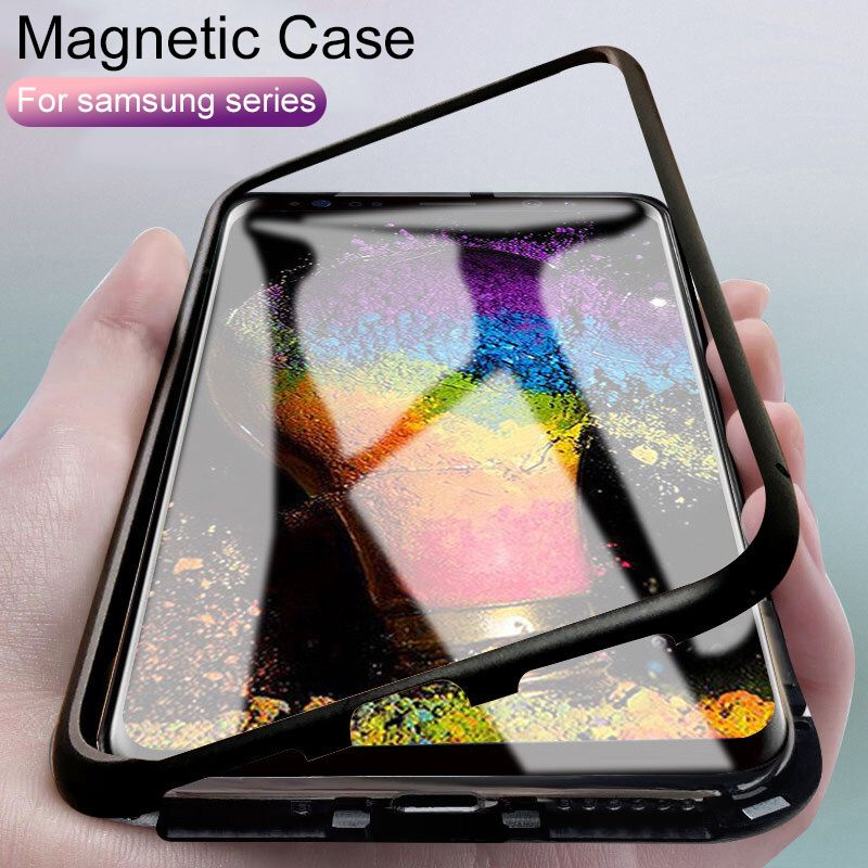 Built-in Magnetic Case for samsung s10 s9 s8 plus s10E cases Magnet Adsorption Case For Galaxy note 8 9 Glass Back Cover bumper