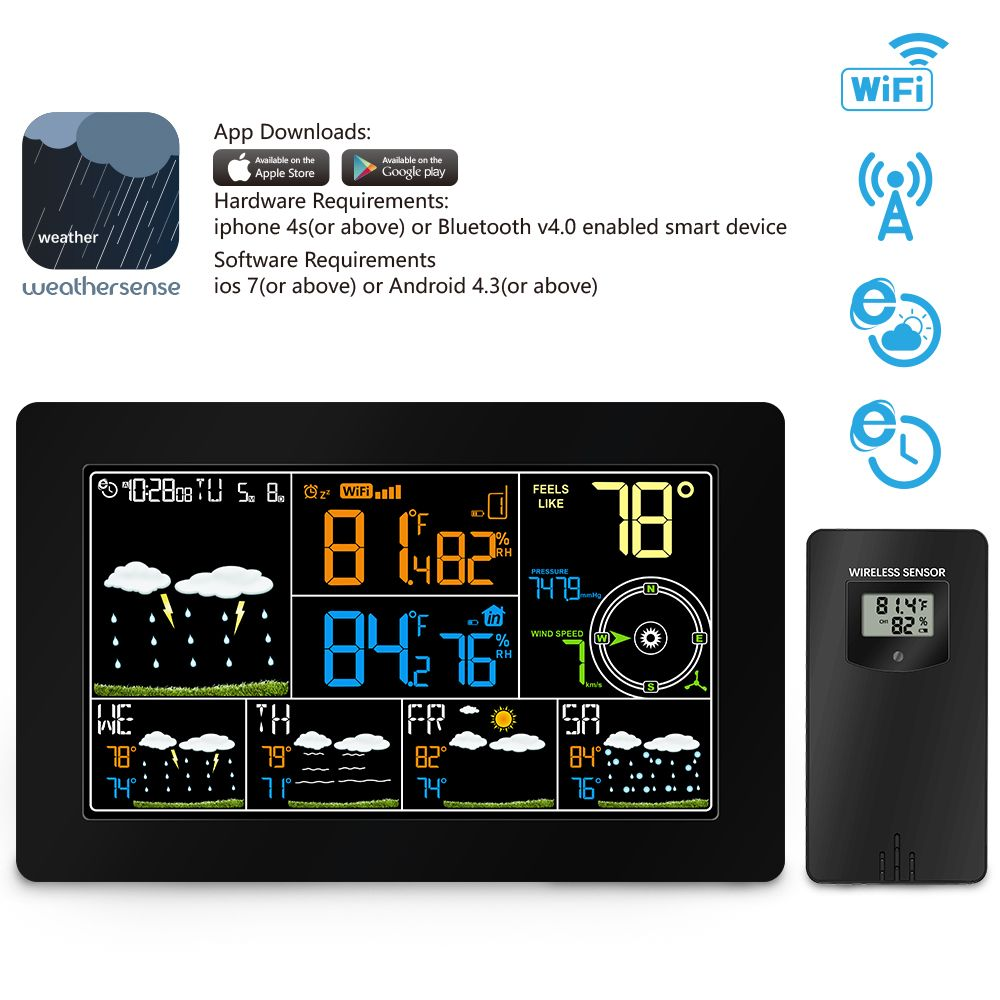 Wireless wifi Weather Station Thermometer Hygrometer with Alarm Clock Indoor Outdoor Temperature pressure wind speed display