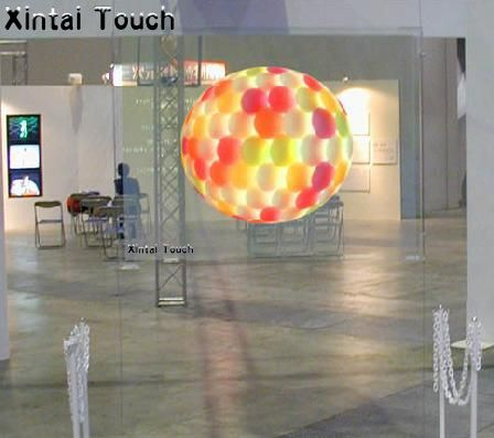 1.524*4m Low price of self adhesive holographic rear projection screen for advertising display, transparent rear projection foil