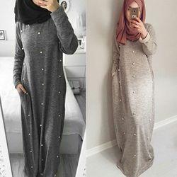 Casual Coton Musulman Abaya Maxi Robe Perlant la Longue Robe Robes Kimono Jubah Ramadan Arabe Dubaï Caftan Islamique Prière Vêtements