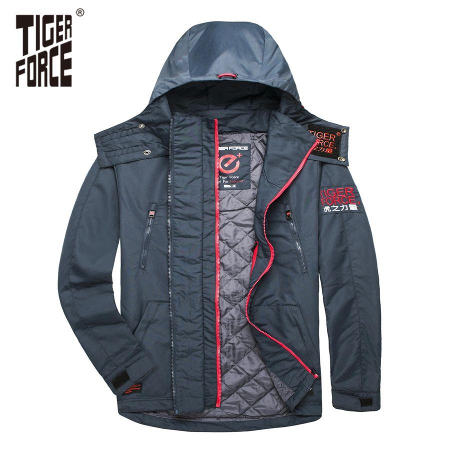 TIGER FORCE 0 degree Men Jackets Spring Cotton Padded Jackets Hooded Jacket Waterproof Coat Windbreaker Men's Outerwear