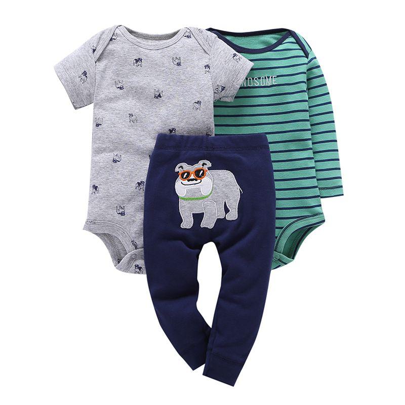 3 pièces nouveau-né bébé garçons fille vêtements 2019 bébé garçons costumes bébé vêtements ensemble à manches courtes col rond enfants 100% coton ensembles
