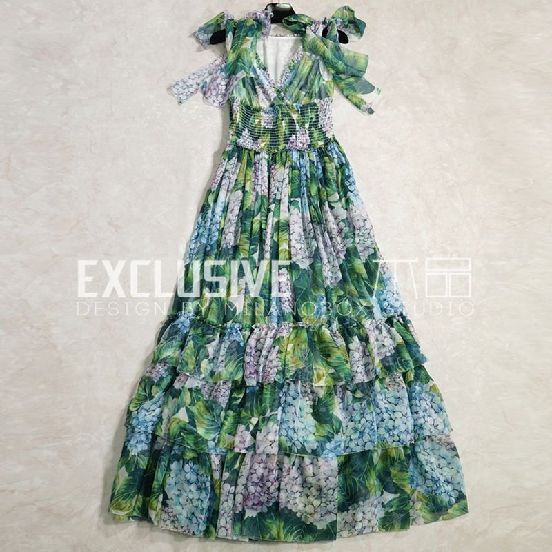SVORYXIU Runway Designer Summer Maxi Dress Women's Sexy V-Neck Tiered Ruffles Green Flower Printed High End Long Dress