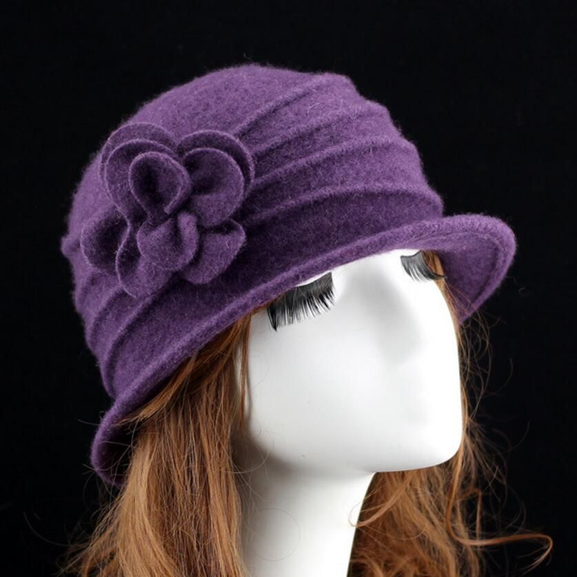 Femmes dôme fedora 100% laine chapeau maman chapeaux pour l'automne et hiver solide floral chaud disquette chapeau Vintage Rétro Melon Feutrés Caps