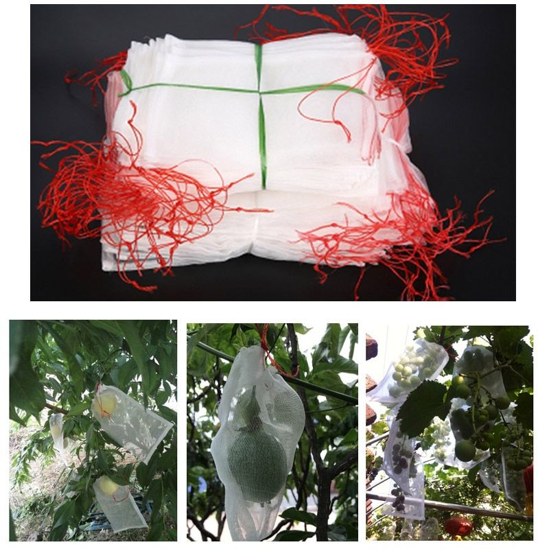 100PCS Garden Vegetable Grapes Apples Fruit Protection Bag Anti Bird Drawstring Netting Mesh Bags For Agriculture Pest Control