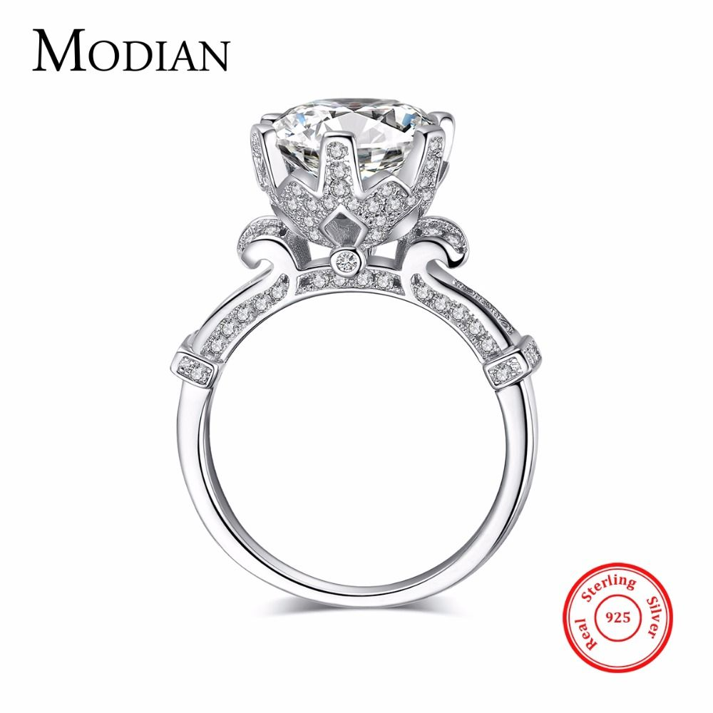 R&J 4.0ct AAAAA Level CZ Ring Fashion Women Gift 925 Solid Sterling Silver Jewelry 2016 Brand Wedding Ring Flower <font><b>Crown</b></font> Design