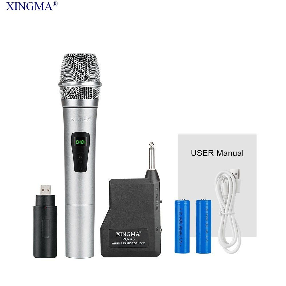 XINGMA PC-K6 Wireless Microphone professional Handheld Microphone Condenser With Receiver Uhf Dynamic Mic For karaoke KTV System