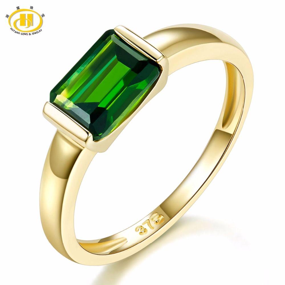 Hutang Echtem 9 K Gelb Gold Ring Smaragd Cut 1,0 Karat Echt Green Chrom Diopsid Für frauen Hochzeit Feine schmuck