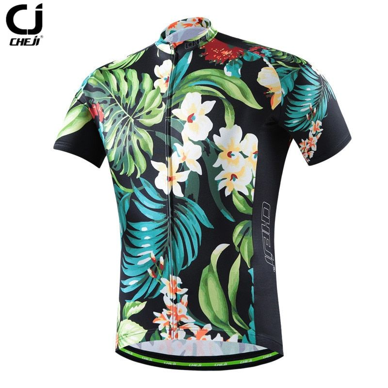 CHE JI Men Retro Cycling Jersey Tight Short-sleeve T-shirt Breathable MTB Bike Bicycle Clothing Wear Quick Dry Sport Jersey