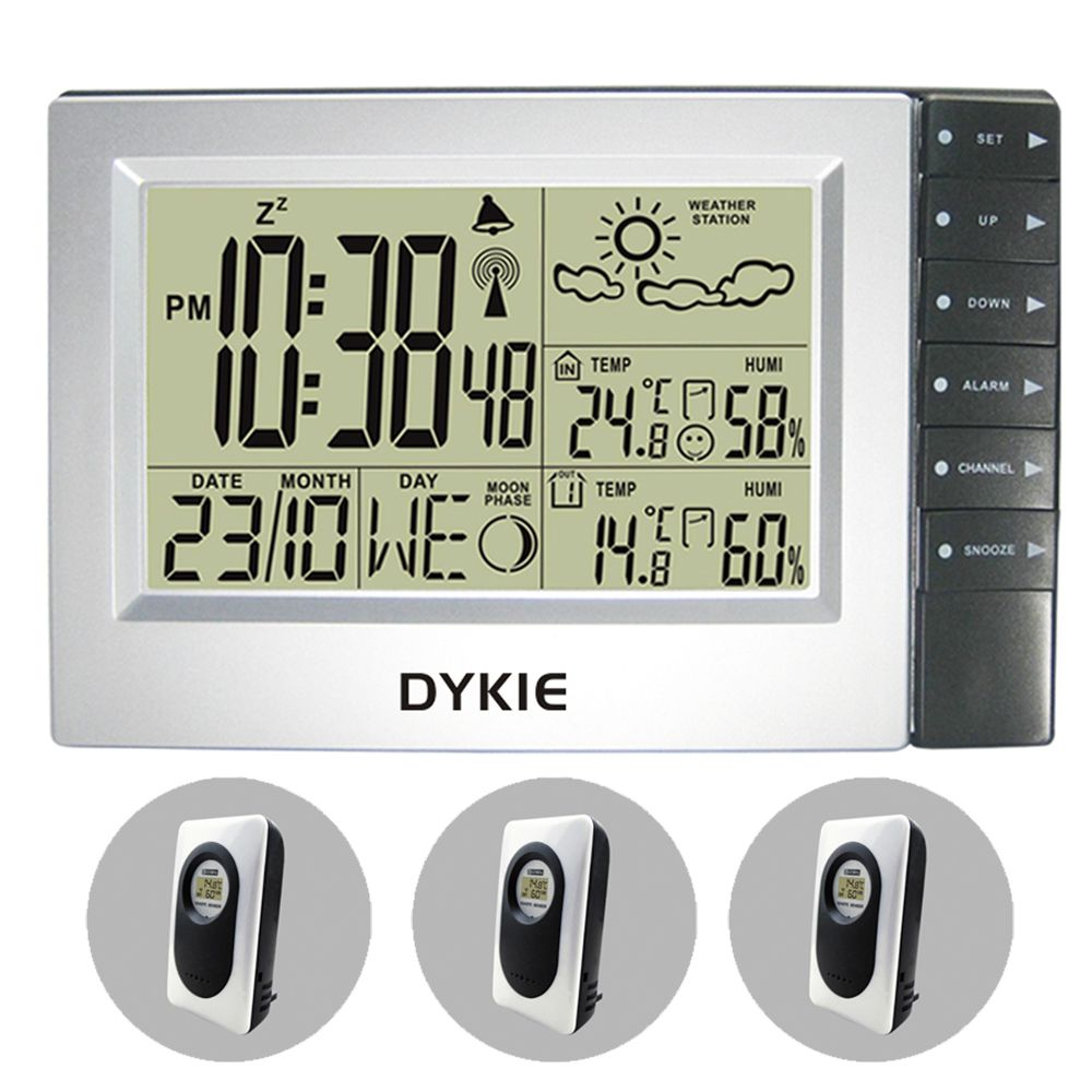 DYKIE RF Radio Controlled Wireless Weather Station Weather Forecast Clock Indoor Outdoor Temperature Humidity 3 Transmitters