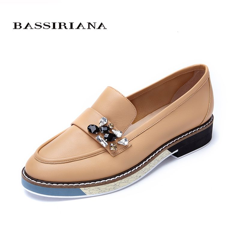 Leather shoes woman 2017 Spring Autumn <font><b>Blue</b></font> Black Brown Round Toe Casual shoes for women Basic model Free shipping BASSIRIANA