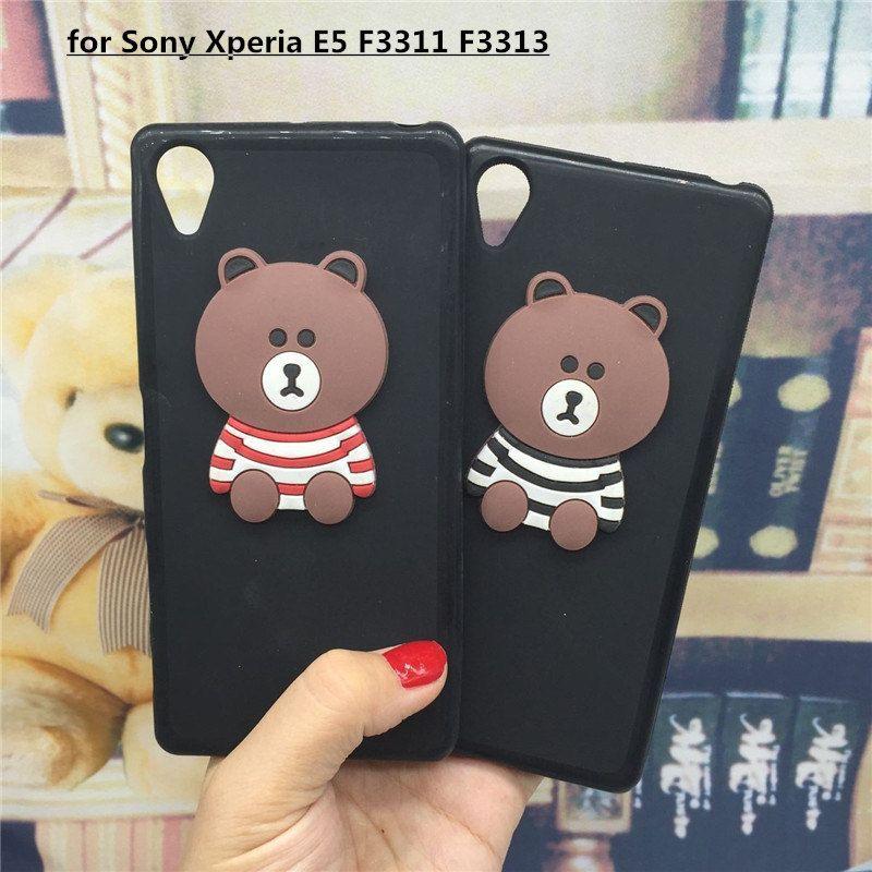 3D Soft Silicone Phone Case Cover for Sony Xperia E5 F3311 F3313 Original Cute Back Covers Cartoon Cases Capa Funda Coque Shell