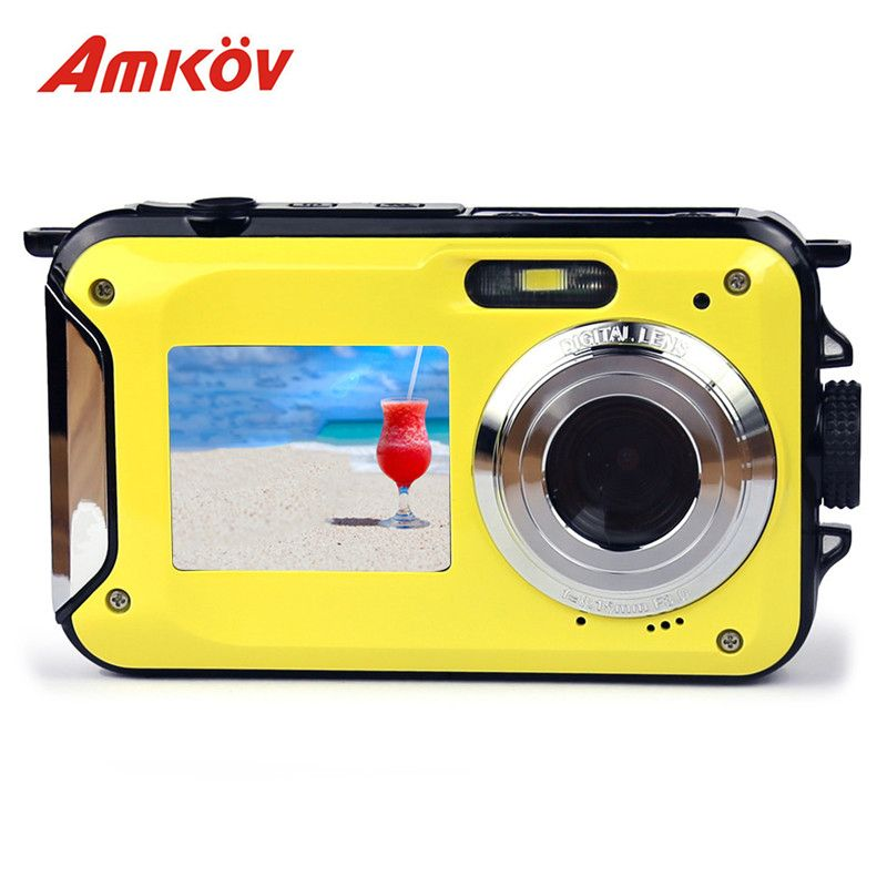 AMKOV W599 Professional Camera 24 MP 2.7inch Front & Rear Dual-screen 11 * 6.5 * 2.5cm Digital Cameras Waterproof Compact Camera