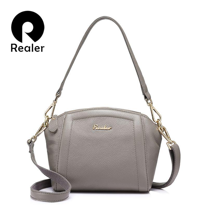 REALER brand women handbag genuine leather bag female small shoulder messenger bags fashion crossbody bag Purple/Gray/Red/Black