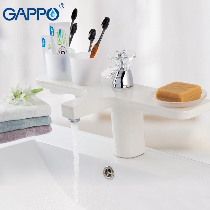 GAPPO white Basin faucet water sink faucet basin mixer tap brass waterfall faucet deck mount bathroom mixer
