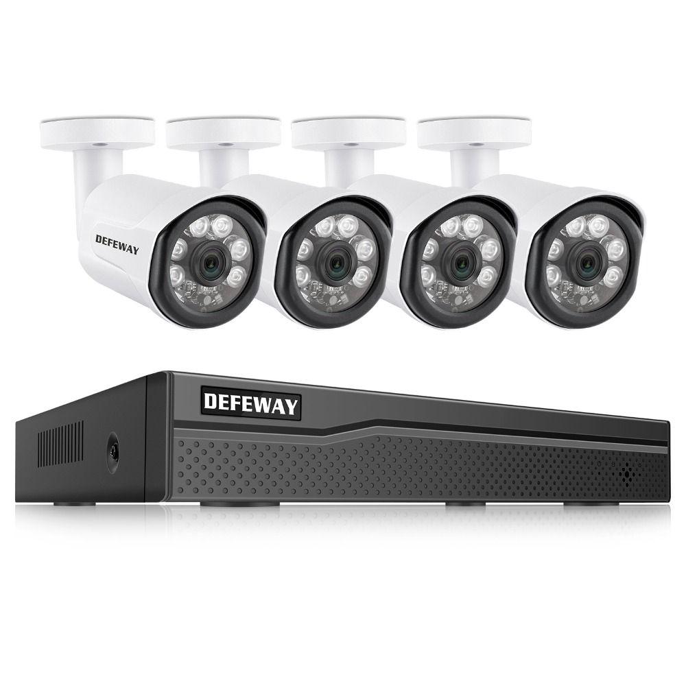 DEFEWAY POE Video Überwachung Kit 4 PCS 2.0MP IP Kamera 8CH 1080 P HD NVR Outdoor CCTV System Video Überwachung system Für Home