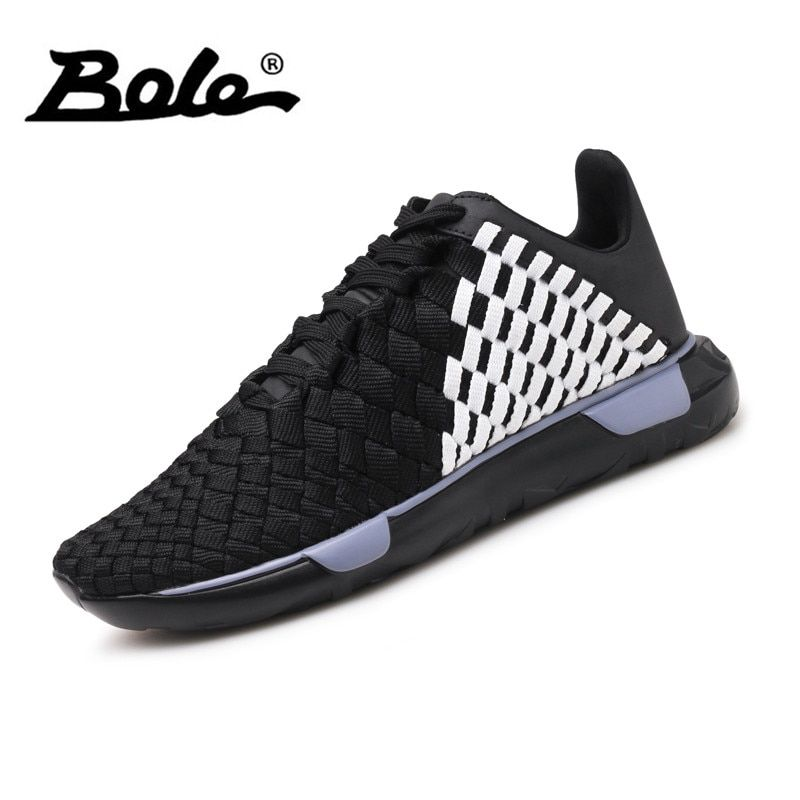 BOLE New Handmade Knit Casual Shoes Breathable Light <font><b>Weight</b></font> Sneakers for Men Fashion High Quality Men Casual Shoes Footwear Men