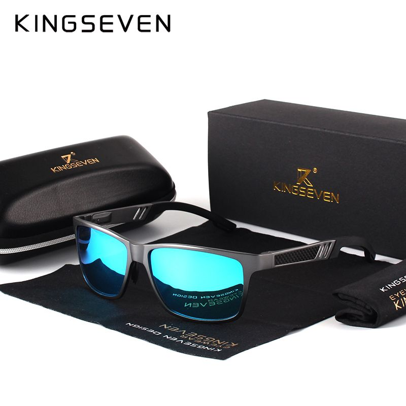KINGSEVEN Men Polarized Sunglasses <font><b>Aluminum</b></font> Magnesium Sun Glasses Driving Glasses Rectangle Shades For Men Oculos masculino Male