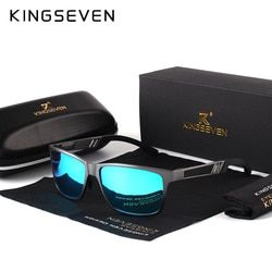 Kingseven hombres polarizados Gafas de Sol de aluminio magnesio Sol Gafas conducción Gafas rectángulo tonos para hombres oculos Masculino