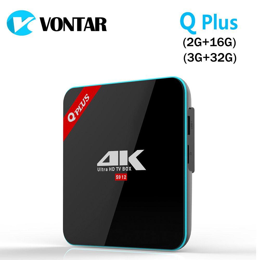 Vontar Q плюс 3G/32 г Amlogic S912 Octa Core Andorid 7.1 ТВ Box 2.4 г/5 ГГц двойной Wi-Fi BT4.0 4 К H.265 Декодер каналов кабельного телевидения media player