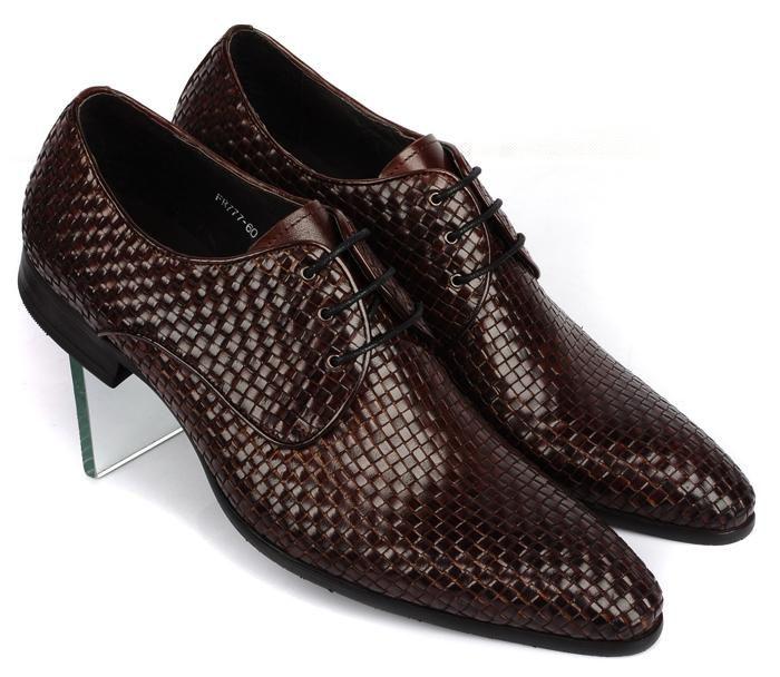 Gestrickte Leder Mens Fashion Business Büro Kleid Schuhe Italienische Oxfords Derby Schuhe Spitz Hochzeit Party Formale Oxfords