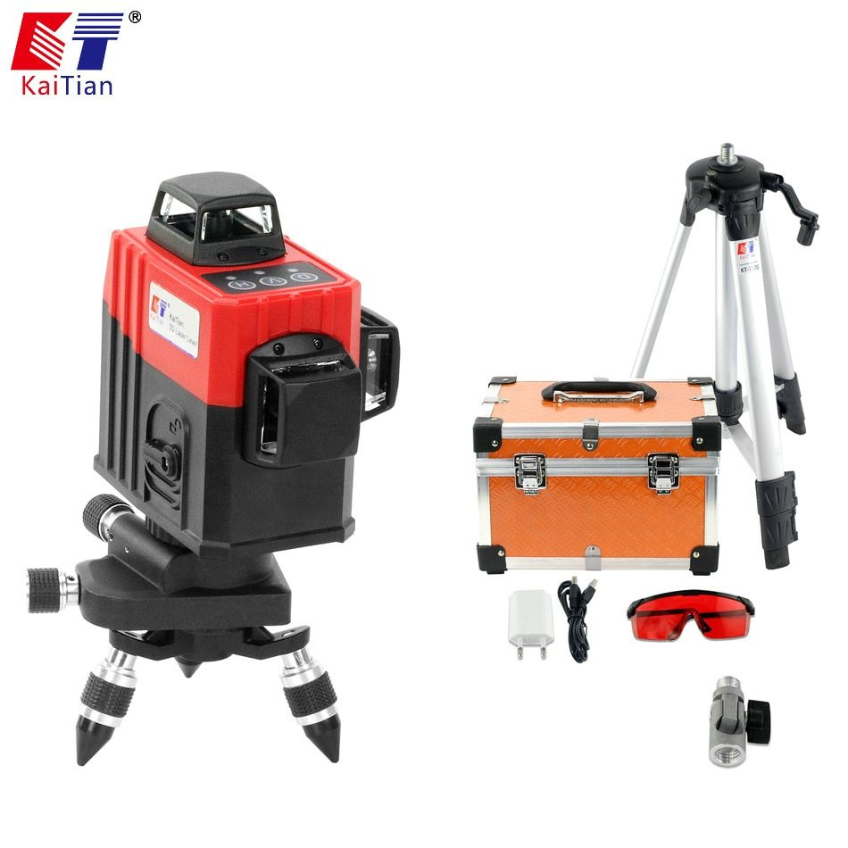 KaiTian 3D Laser Level Tripod 360 Rotary with Outdoor Tilt Function Self-Leveling 650nm Laser Beam Cross 12 Lines Level Nivel