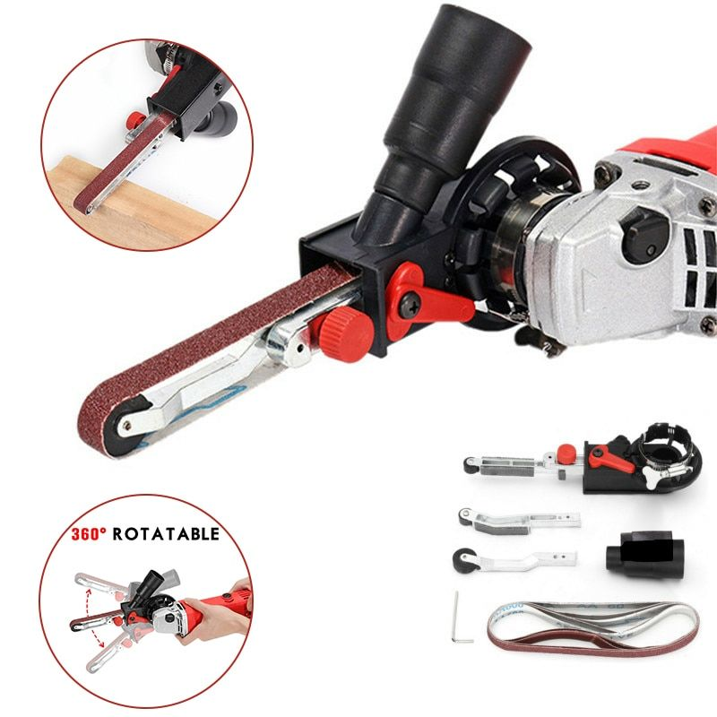 Bricolage M10/M14 courroie de ponçage adaptateur accessoire conversion 100/115/125mm meuleuse d'angle électrique pour ponceuse à bande bois métal travail