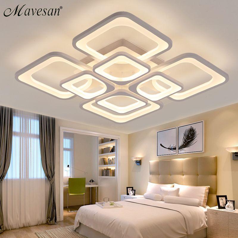 2018 Square led lamp ceiling with brightness dimmer for living room bedroom flush mount plafonnier led light lamparas de techo