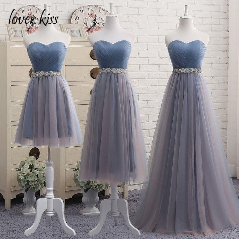 Amante beso de dama de Honor Vestidos de Blanco Negro Azul Bruidsmeisjes Jurken Nupcial de Baile Vestido de dama de honor vestidos de largo vestido de festa